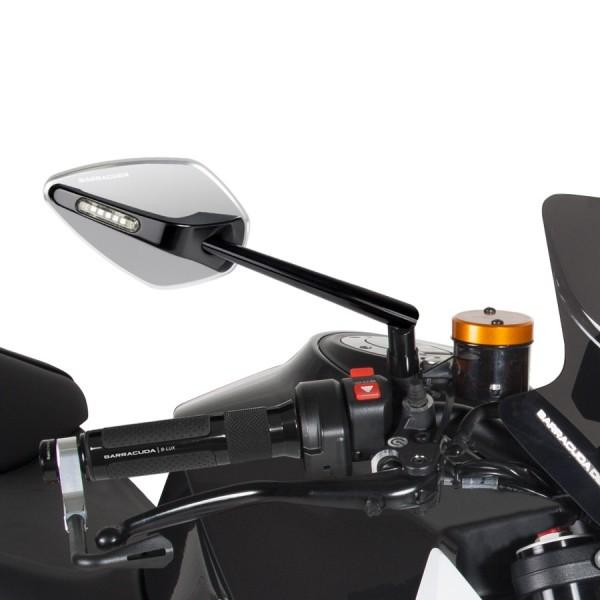 barracuda motorrad spiegel mit led blinker skin x. Black Bedroom Furniture Sets. Home Design Ideas